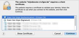 E-ID Popup, choose certificate